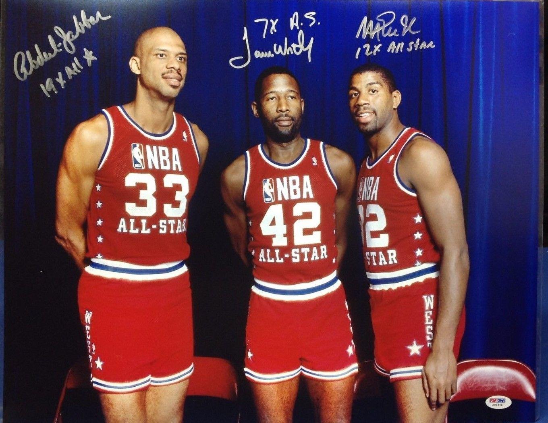 Magic Johnson Kareem Abdul Jabbar James Worthy Signed All-Star 16x20 Photo PSA | James worthy, All star, Magic johnson