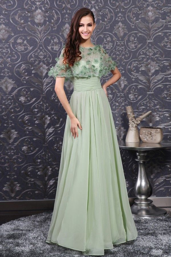 Pale Green A Line Boat Neckline Chiffon Evening Dress With Illusion Stole Long