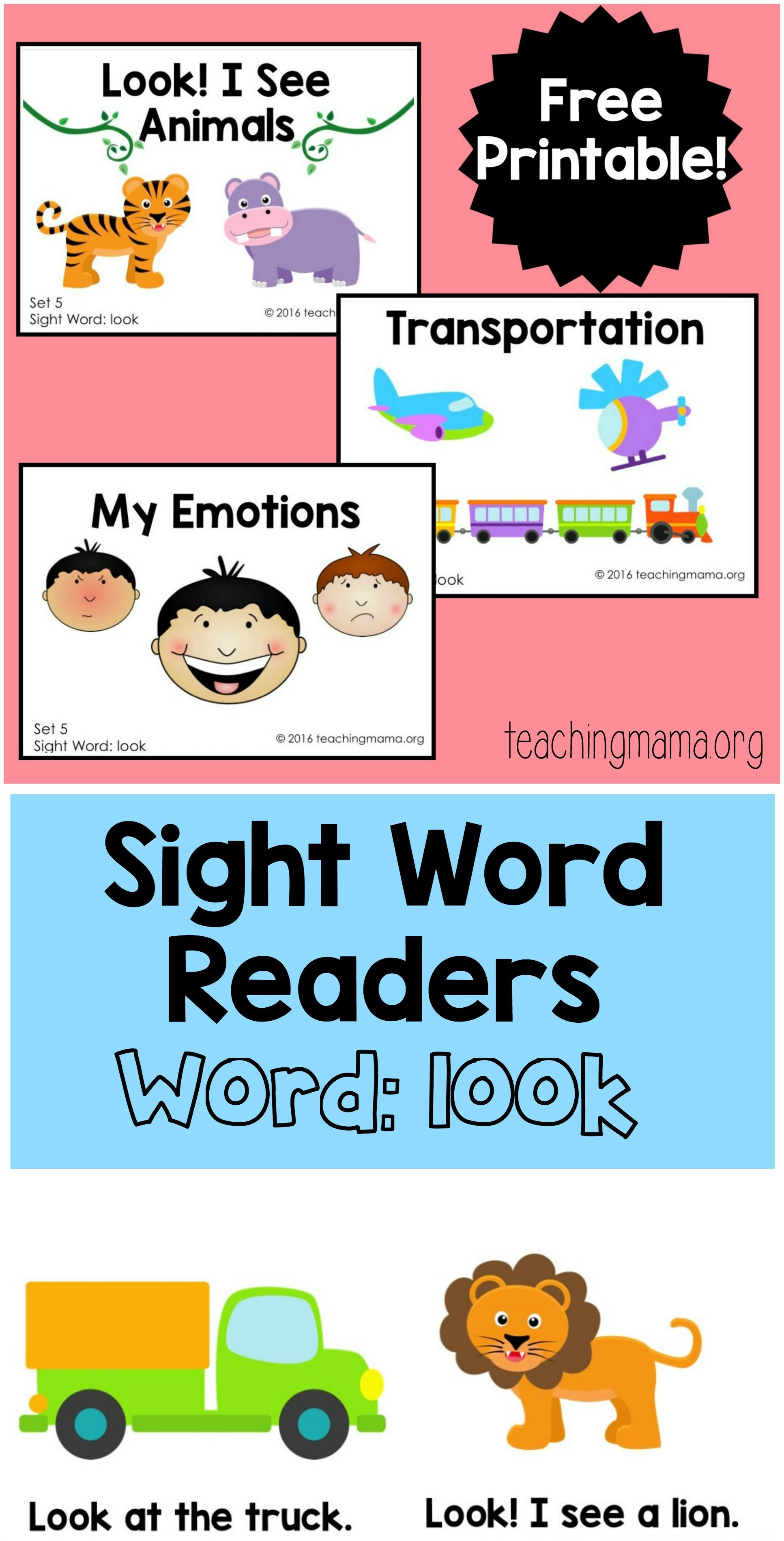 Sight Word Readers For The Word Look