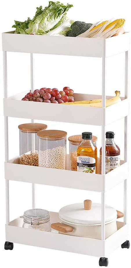 Slim Slide Out 4 Tier Storage Kitchen Trolley Pull Out Cart Shelf Rack Organizer