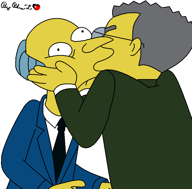 Now we know that Mr. Burns doesn't close his eyes when he kisses.