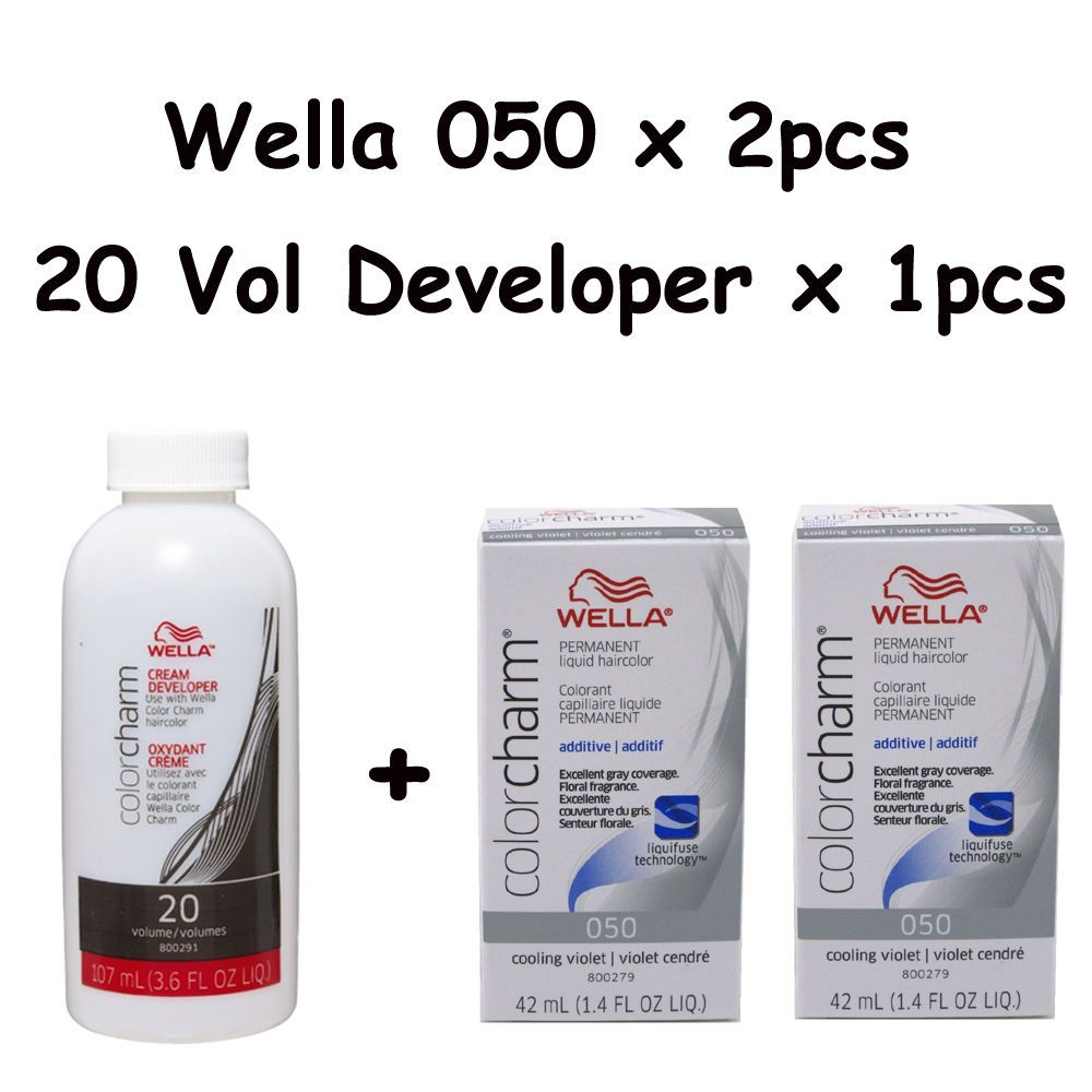 14 99 Wella Color Charm 050 Cooling Violet 2 Pack With 20 Vol Cream Developer Ebay Fashion