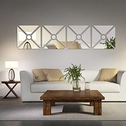 Wonderful Amazon.com: Multipieces U003d4 Squares DIY Acrylic Mirror Wall Sticker Living  Room Dinging Room Bedroom Decor Art 3D Mirrored Wall Decals Removable Home  ...