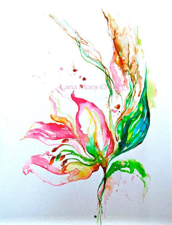 Pink Flowers Painting Abstract Original Watercolor - Coral, Sage ...