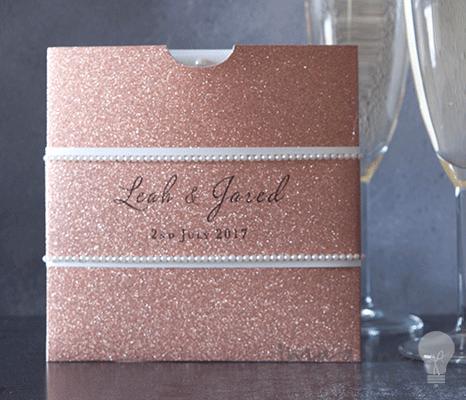 Square Glitter Wallet Rose Gold Wedding invitations uk Diy