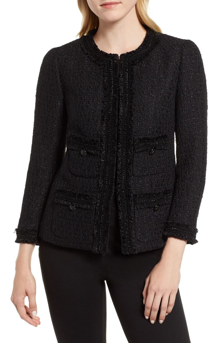 Classic timeless chic chanel dupe tweed jacket wear