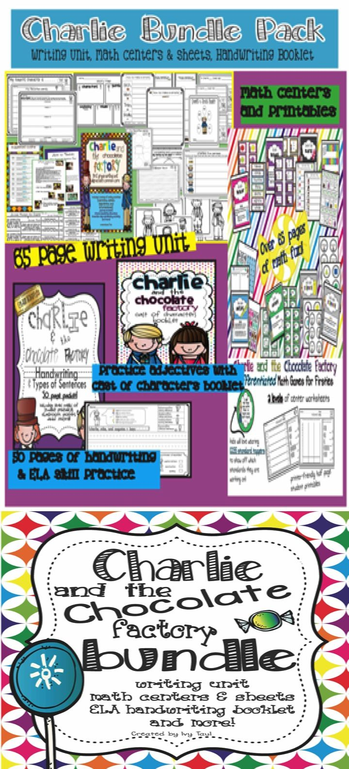 charlie and the chocolate factory bundle math centers writing save over 35% this charlie and the chocolate factory bundle writing unit