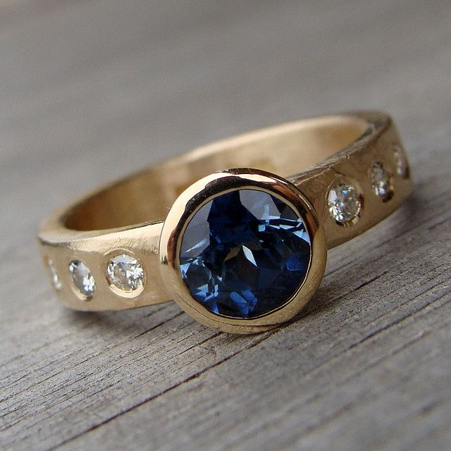 Fair trade sapphire, moissanite, and recycled 14k