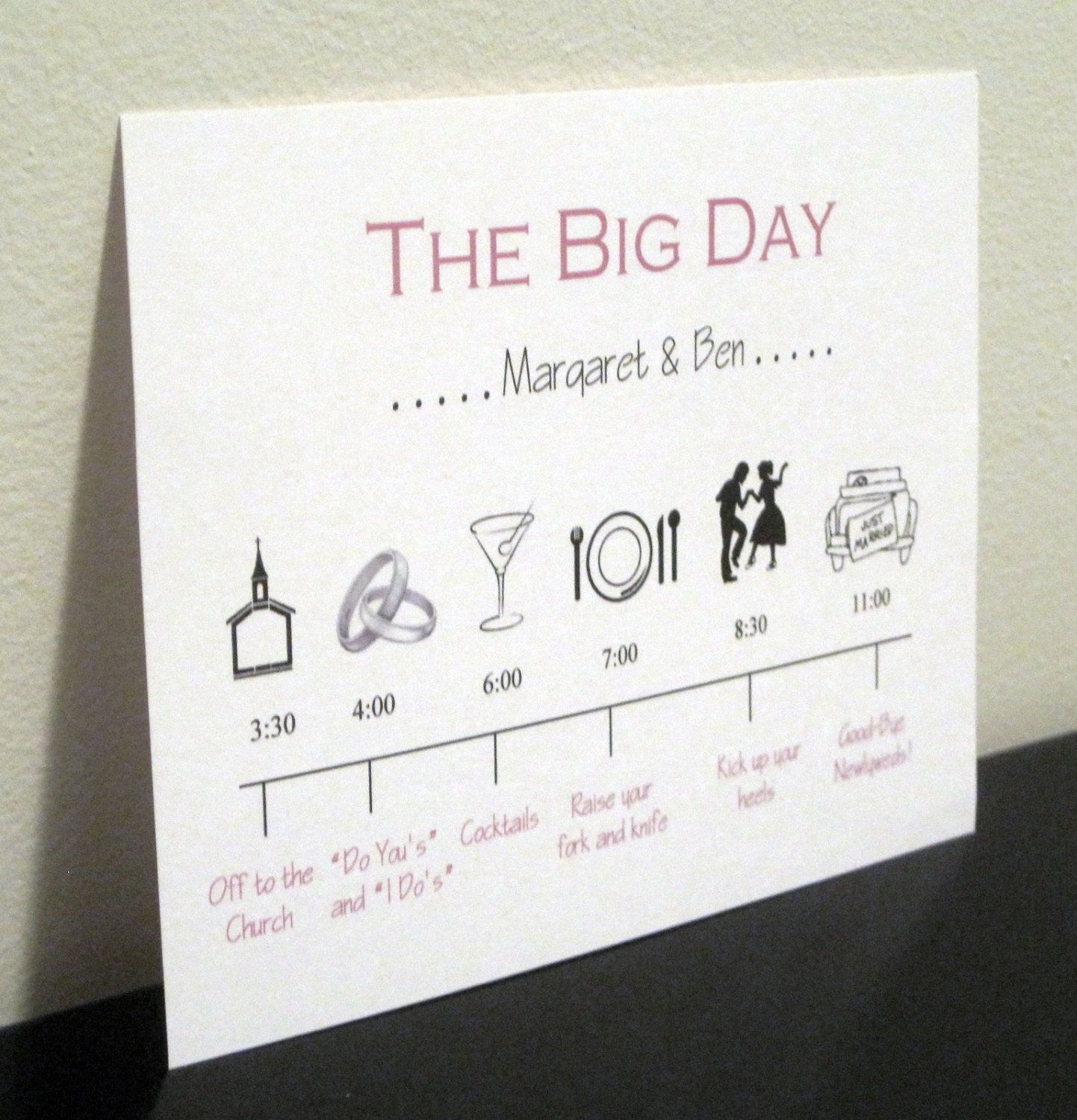 Wedding Day Timeline Card For Bridal Party By