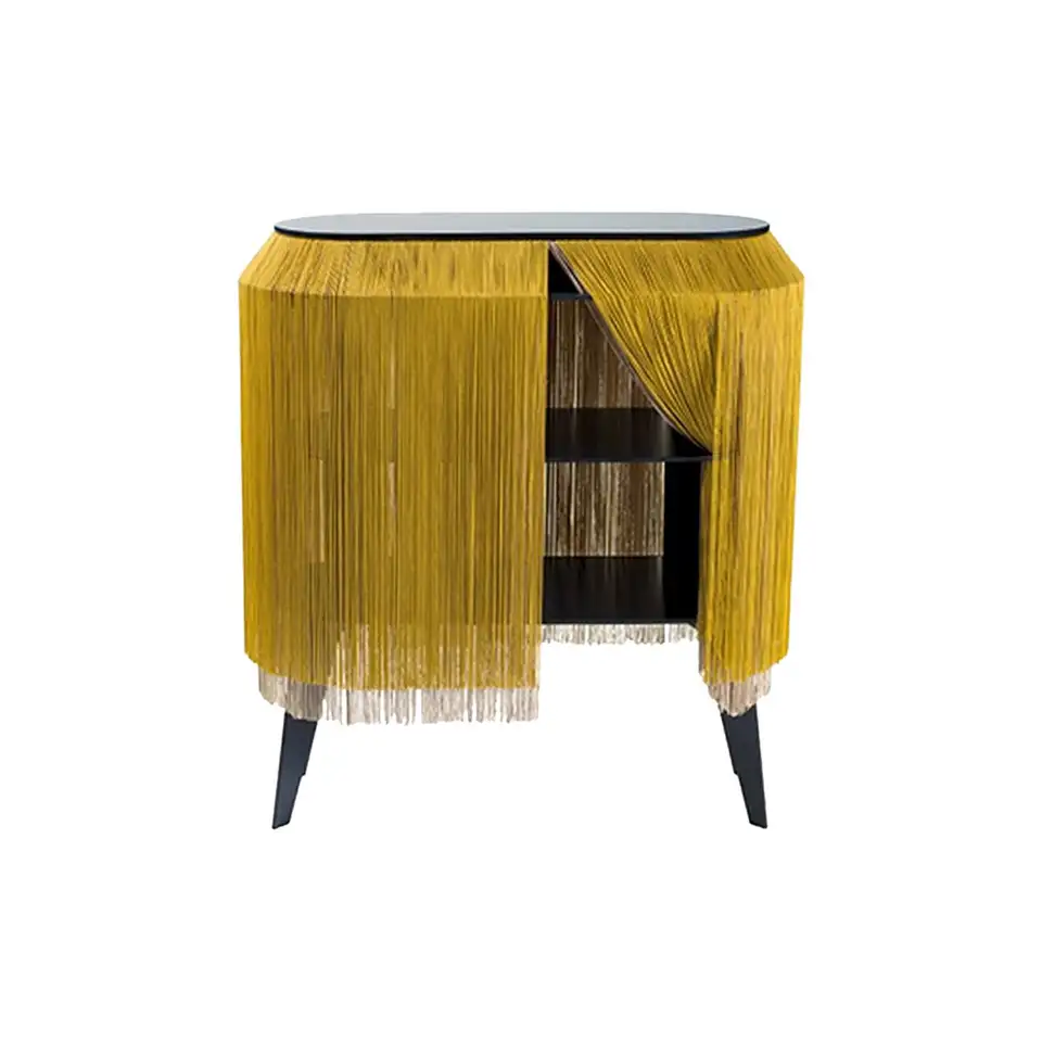 Yellow Gold Fringe Side Table Nightstand Made In France In 2020 Quirky Furniture Side Table Modern Side Table