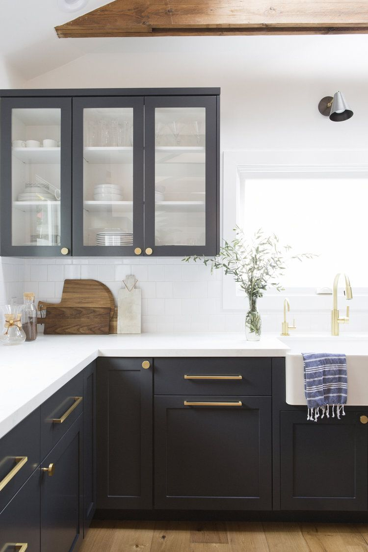 Love The Glass Cabinet Doors With White Interiors Nice Way To Integrate The Black Up Kitchen Cabinets Color Combination White Kitchen Design Kitchen Interior