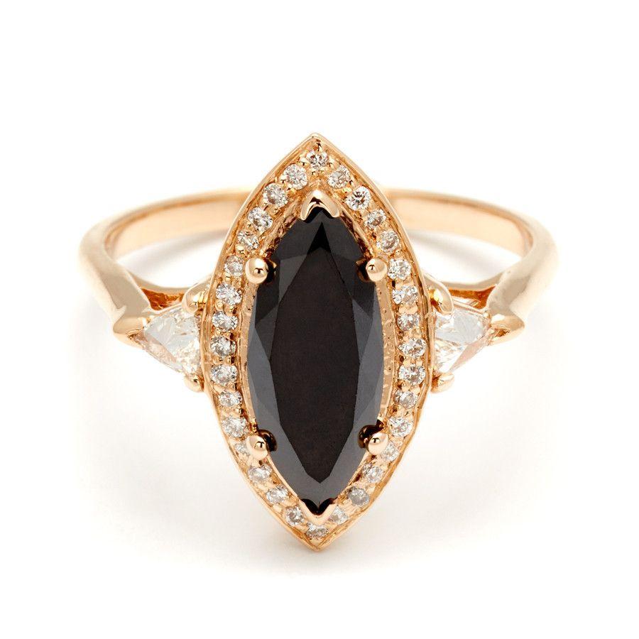 7bbe8f32bcda8 Marquise Bea Halo Ring - Yellow Gold & Black Diamond (2.09ct) | Bea ...