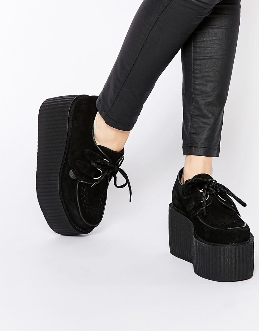 Image 1 of Underground Wulfrun Black Suede Creeper Triple Sole Shoes