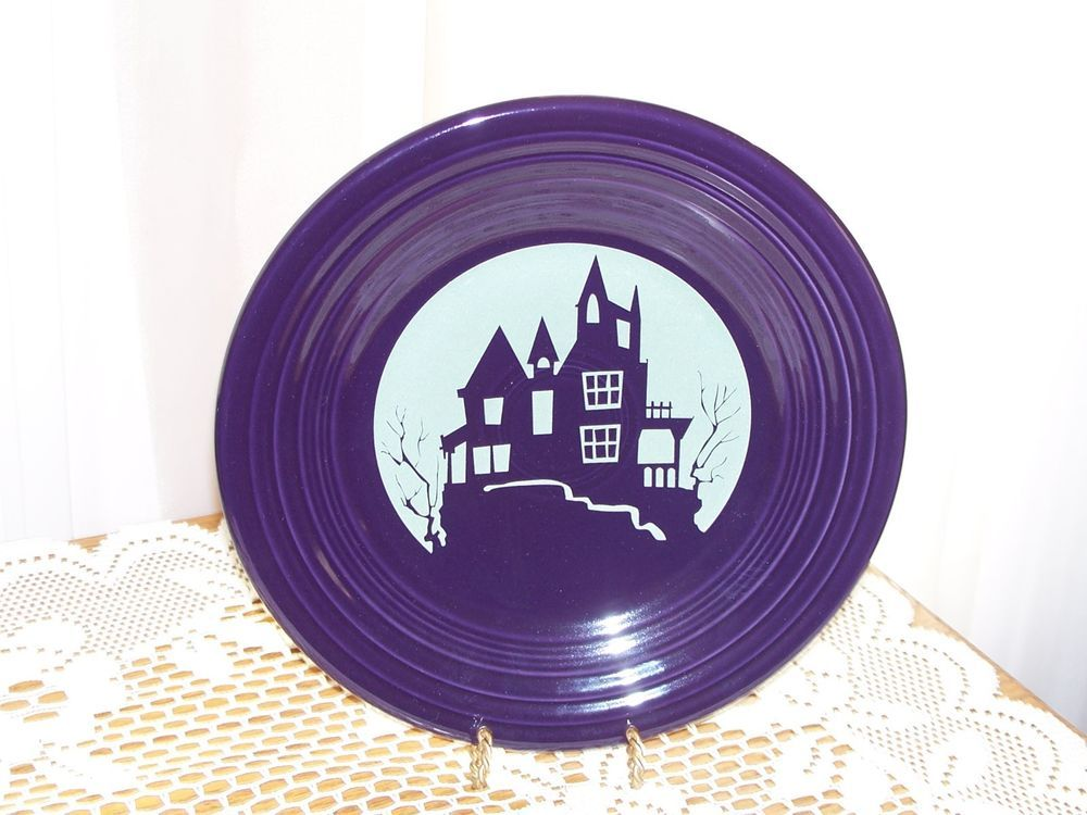 fiesta spooky house moon lit halloween luncheon plate new