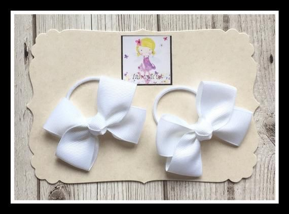 Girls hair bows - Set of 3 hair bows - Pink & White hair bows - Hairbands and Hair clips