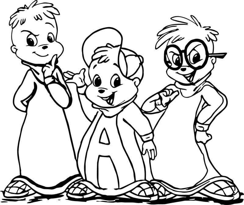 Alvin And Chipmunks Cartoon Coloring Page di 2020