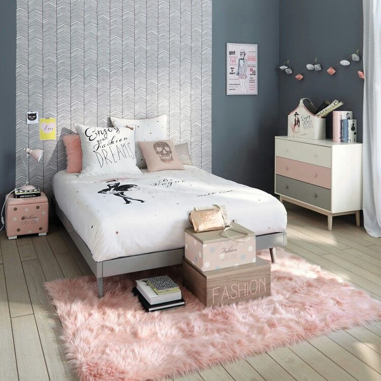 pink and grey   deco chambre   Bedroom, Room Decor et Room