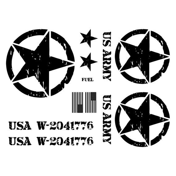 Jeep wrangler us army star decal kit 3m matte black custom text hood serial numbers 9 fonts available