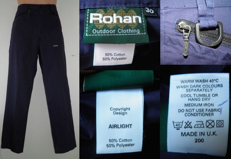 ad40d517b3a15 2000 s ROHAN Navy AIRLIGHT Bags Mountaineering Hiking Walking Trousers Pant  Mens 30 L31 Made in U.K.