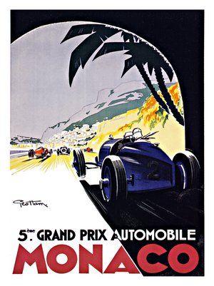 1933 Monaco Blue Race Car Vintage Style Grand Prix Racing Poster 20x30