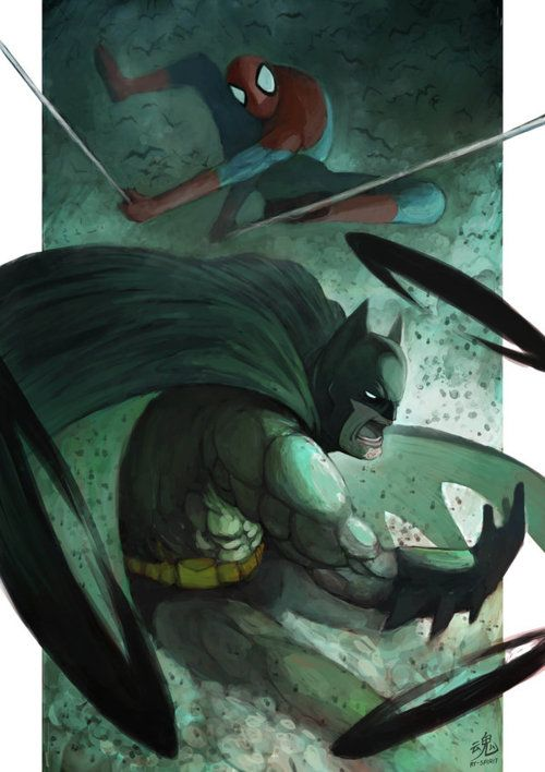 The Bat & The Spider, Created byRy Shiu  It's lovely work, but I just can't enjoy it because they're from two different universes! DC vs. MARVEL