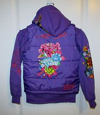NEW! Ed Hardy Girls Puffer Vest Hoodie Jacket Crystals Love Size 10 M Purple NWT