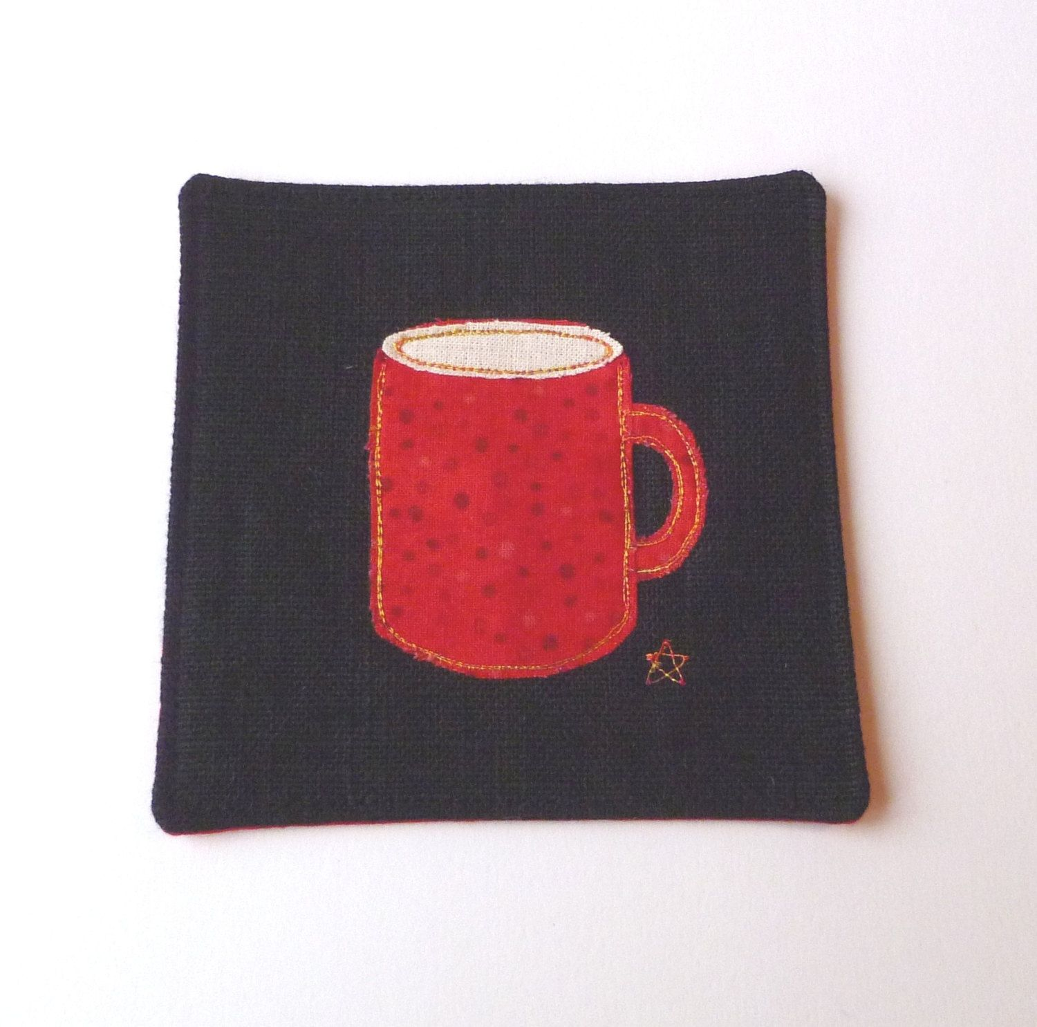 Fabric Coaster For Him Or Her Fun Vibrant Red Mug Design Drinks Mat In Black Linen With Speckled Red Cotton Fabric Handmade In The Home Details Fabri