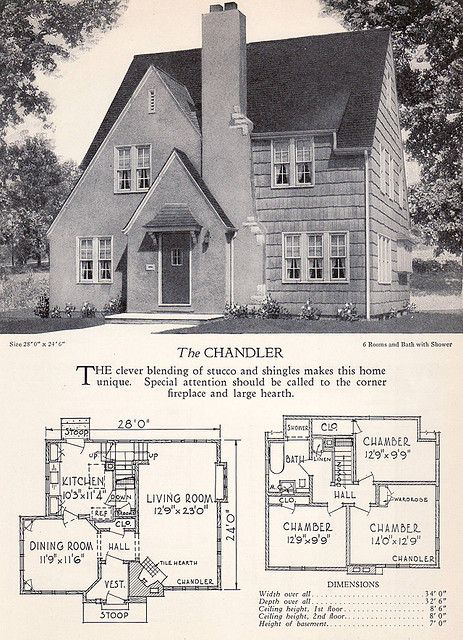 1928 Home Builders Catalog The Chandler House Plans With Pictures Vintage House Plans House Styles