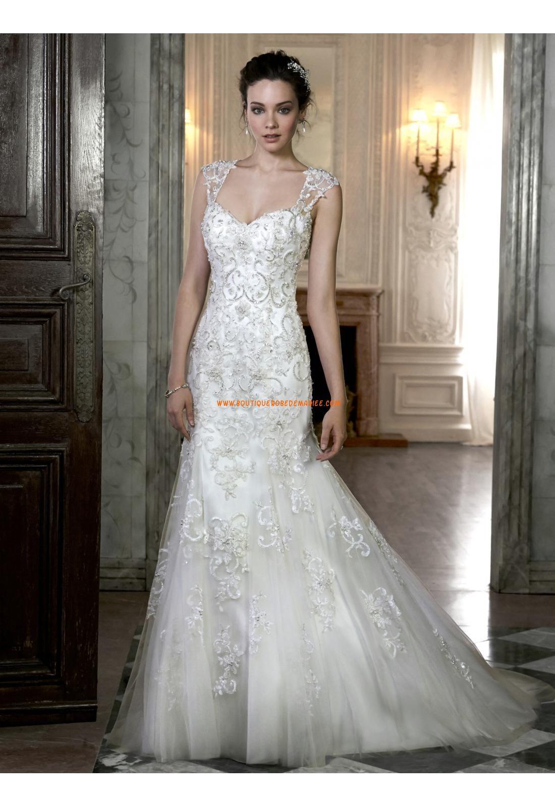 Robe de mariée Empire Fourreau Traine Courte Tulle Luxueux Col En Coeur