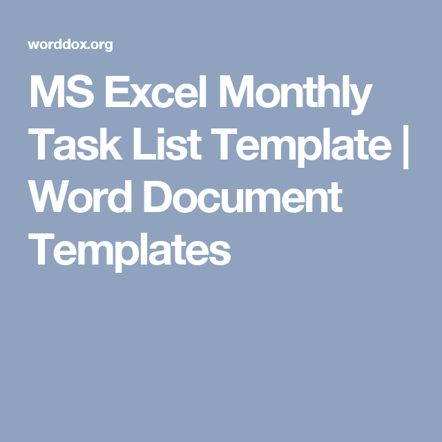 Ms Excel Monthly Task List Template  Word Document Templates