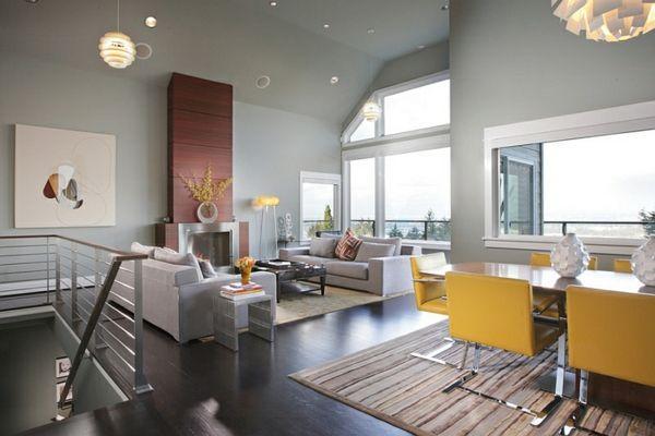 Wohnzimmer Farbgestaltung Grau Und Gelb