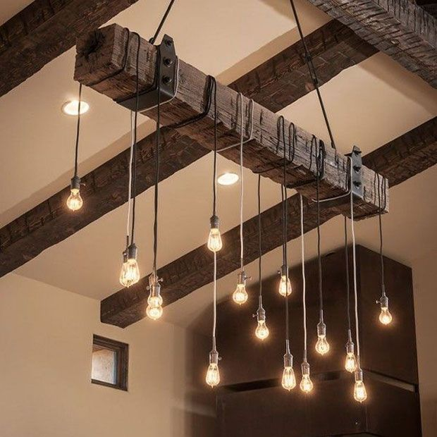 Elegant Create your own rustic industrial chandelier for your modern farmhouse lighting with a reclaimed wood beam A wooden beam suspended from the ceiling around