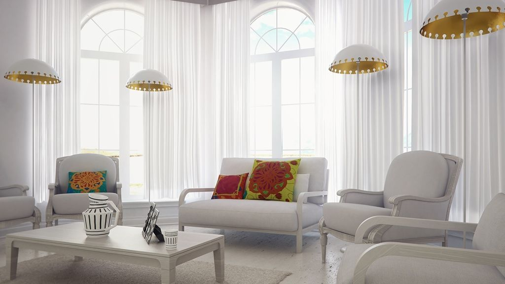 Quito White Floor Lamp With Shiny Gold Color Inside A - Sofas Quito