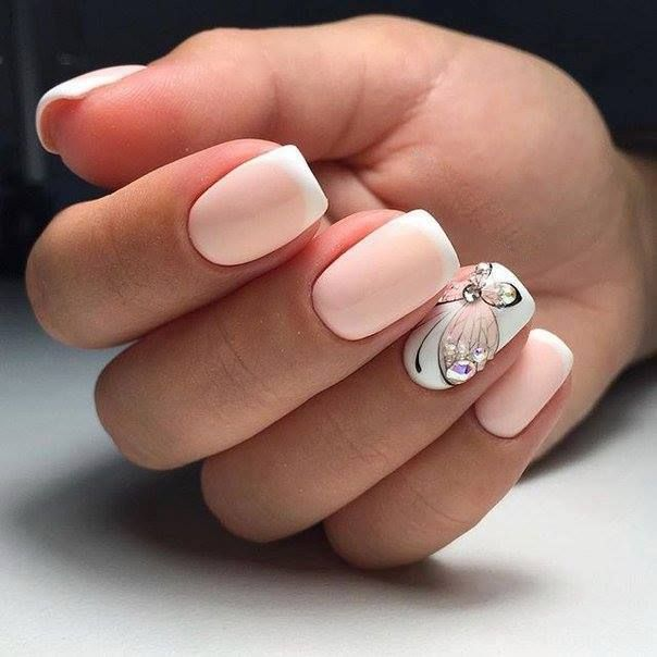 Perfect Pink French Manicure With Butterfly And Rinestones