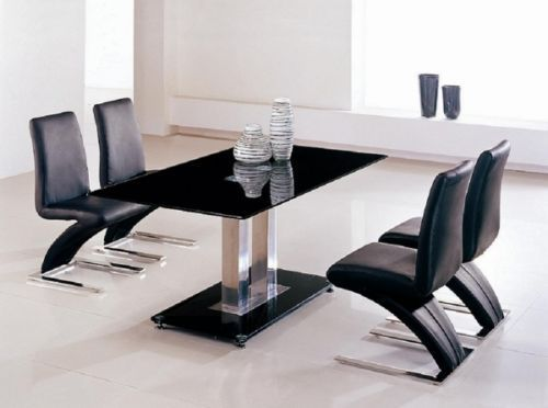 Black Glass Dining Table And 4 Z Chairs In