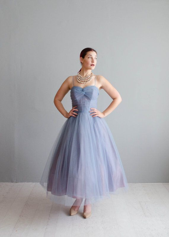 Vintage 1950s Party Dress Tulle 50s Dress by concettascloset