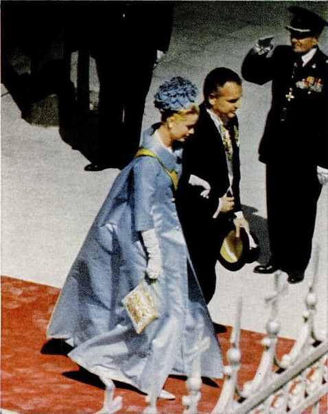 Prince Rainier and Princess Grace attending the wedding of Prince Juan Carlos I of Spain and Princess Sophia of Greece and Denmark. (May, 1962)