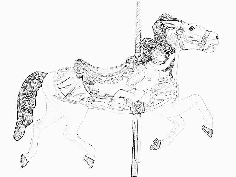 Carousel Horses Coloring Pages Volume 5 By Tracrs On Etsy