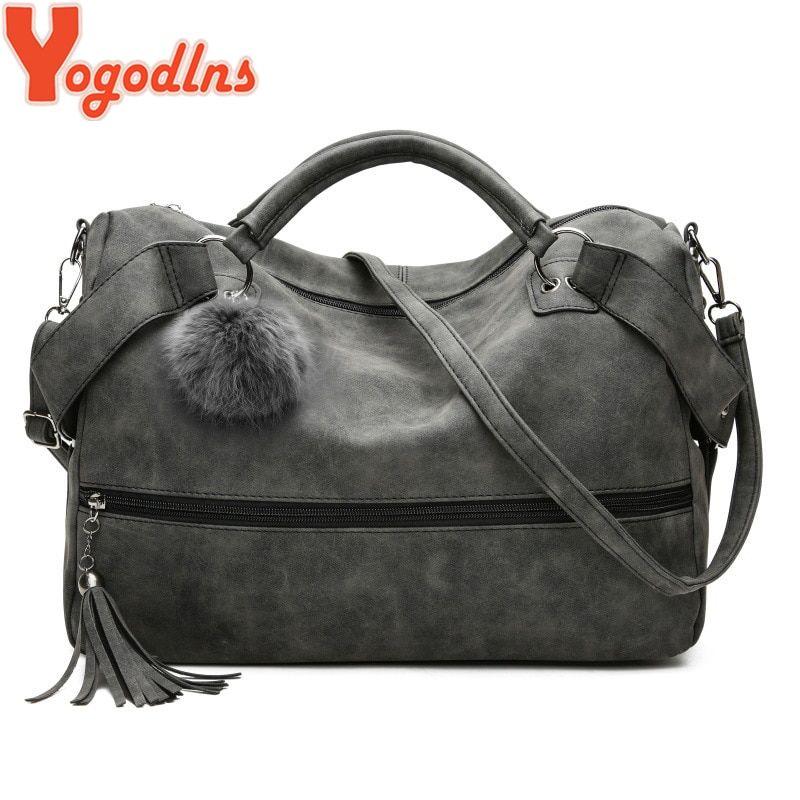 c986efebcc Yogodlns New Fashion Leather Handbags for Women Tassel Messenger Bags Tote  Fur Ball Large Capacity Shoulder