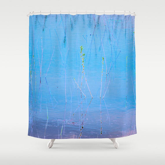 Bright Blue Shower Curtain Abstract Shower Curtain Blue Bathroom