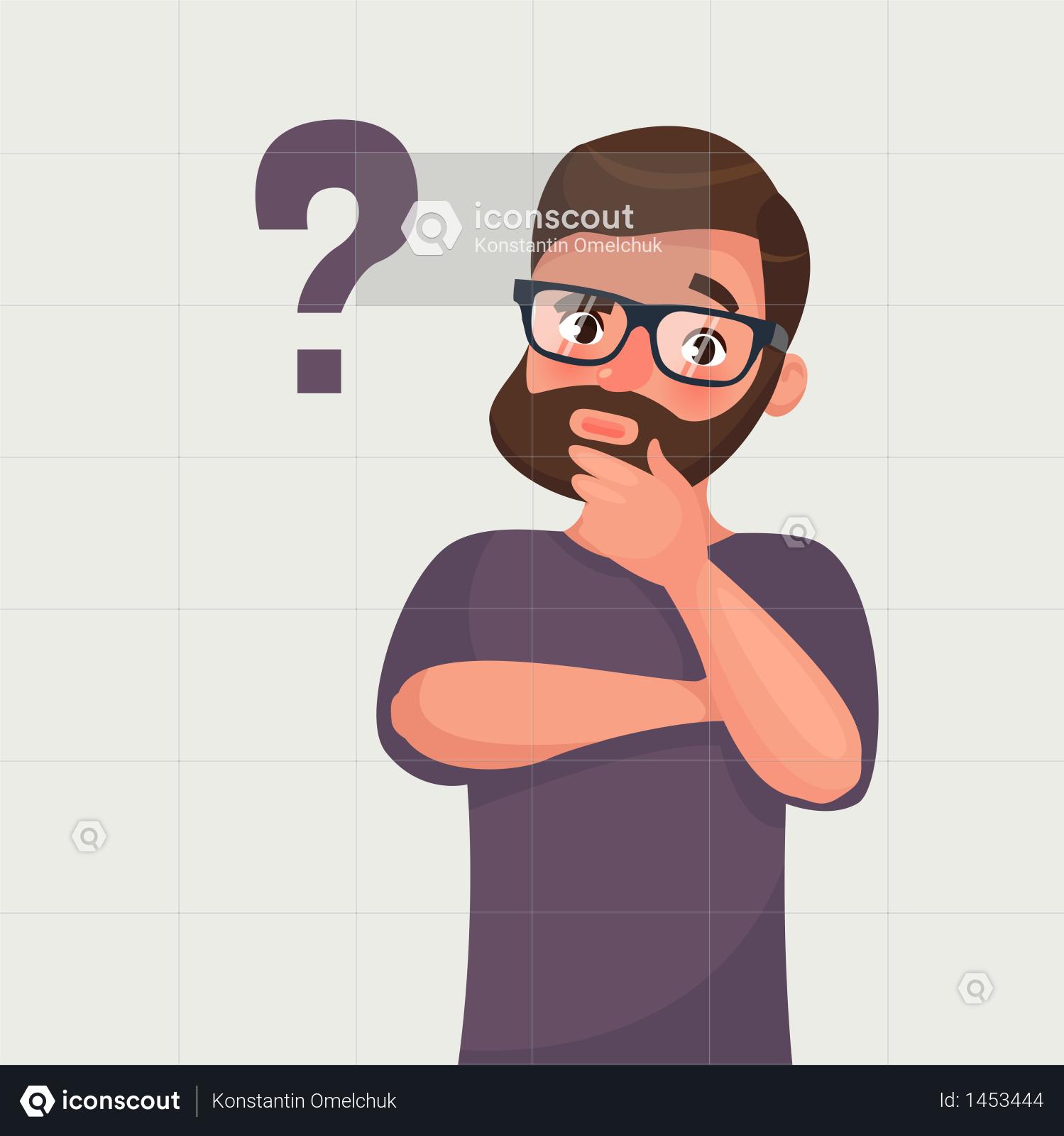 Premium Thinking man with question mark Illustration