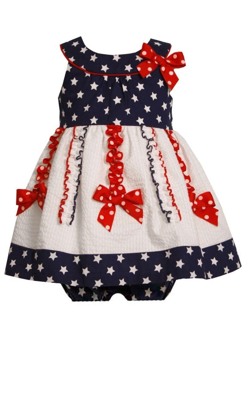 42e593c28d Ella Blu Store - Bonnie Jean Girls Patriotic 4th July Blue Red Seersucker  Dress 12 18