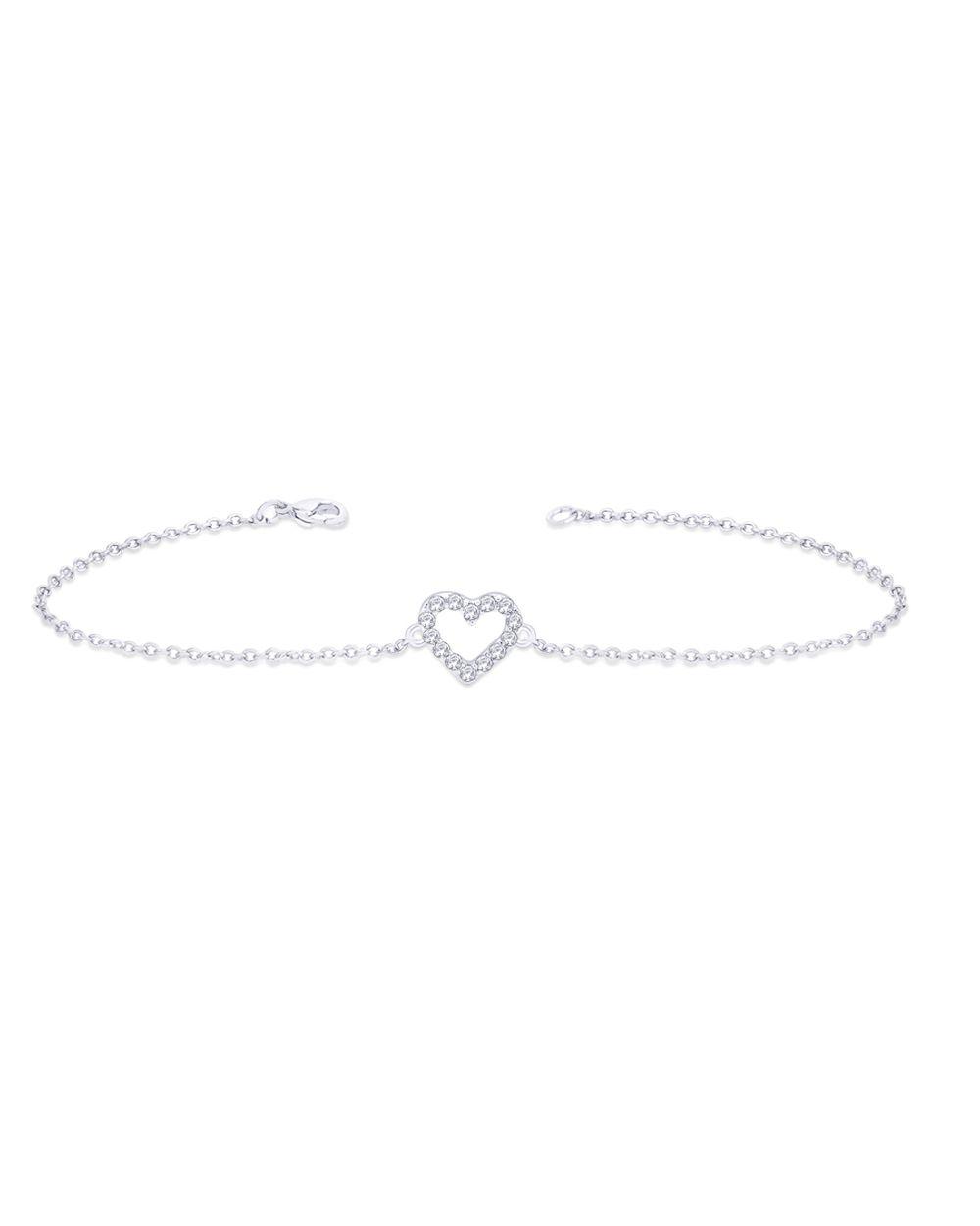 Sterling Silver Open Heart Bracelet