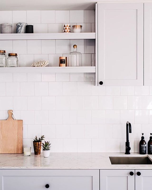 My Friday nights officially consist of trawling through mags, Pinterest and Instagram... Is it bad that I secretly love it!!!  #nestinginnorthmeadrenofour #lovethiskitchen #myfavsofar #cantwaitforthenextone  @hannahblackmore | Black tap @meiraustralia | Homewares @hamptons_at_home_sydney | subway tiles @ambertiles