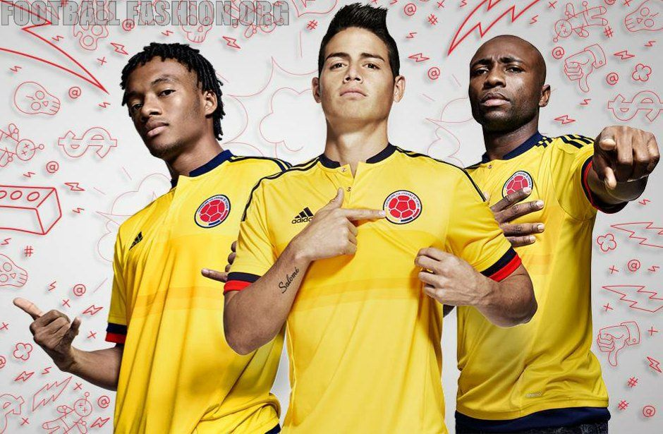 03bca7496 Colombia Yellow 2015 Copa America and World Cup adidas Home Soccer Jersey