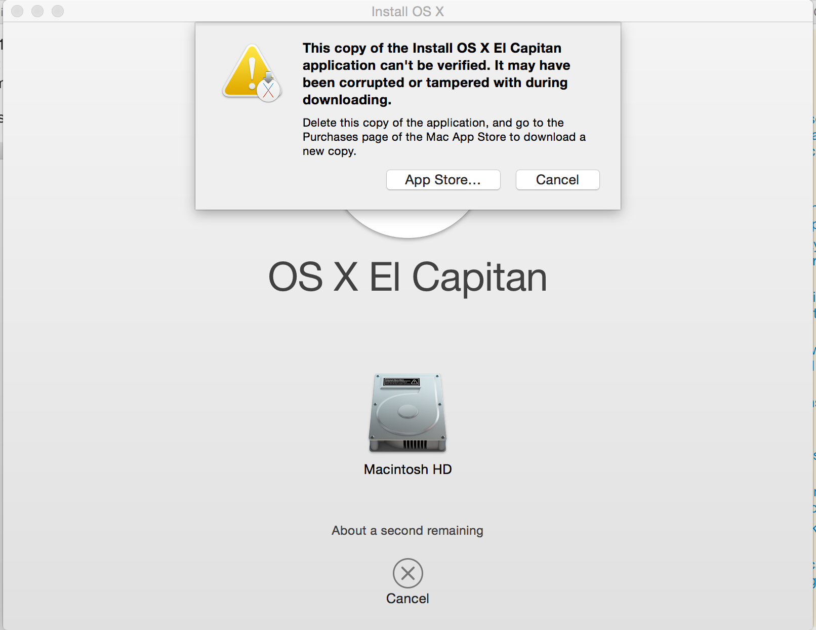 This copy of the Install OS X El Capitan application can't