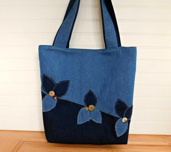 Denim Handbag for Women Work Bag, Denim Bag, Denim Shoulder Bag, Bucket Bag Tote, Denim Tote Bag with Pockets, Laptop Tote, Crossbody Bag