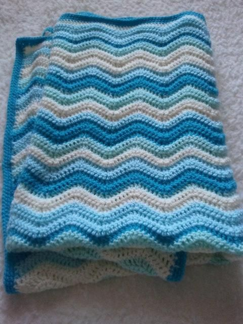 Crochet Baby Boy Ripple Cot Blanket Crochet Or Knit Afghans