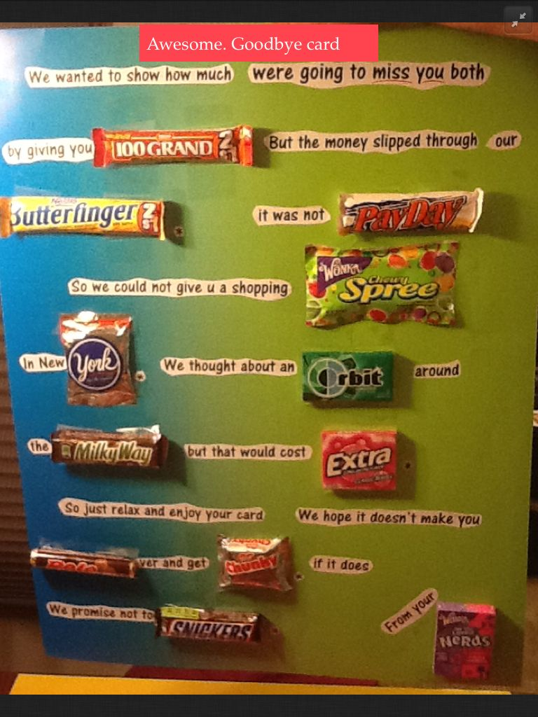 Awesome goodbye card … | fun gifts | Candy bar cards ...