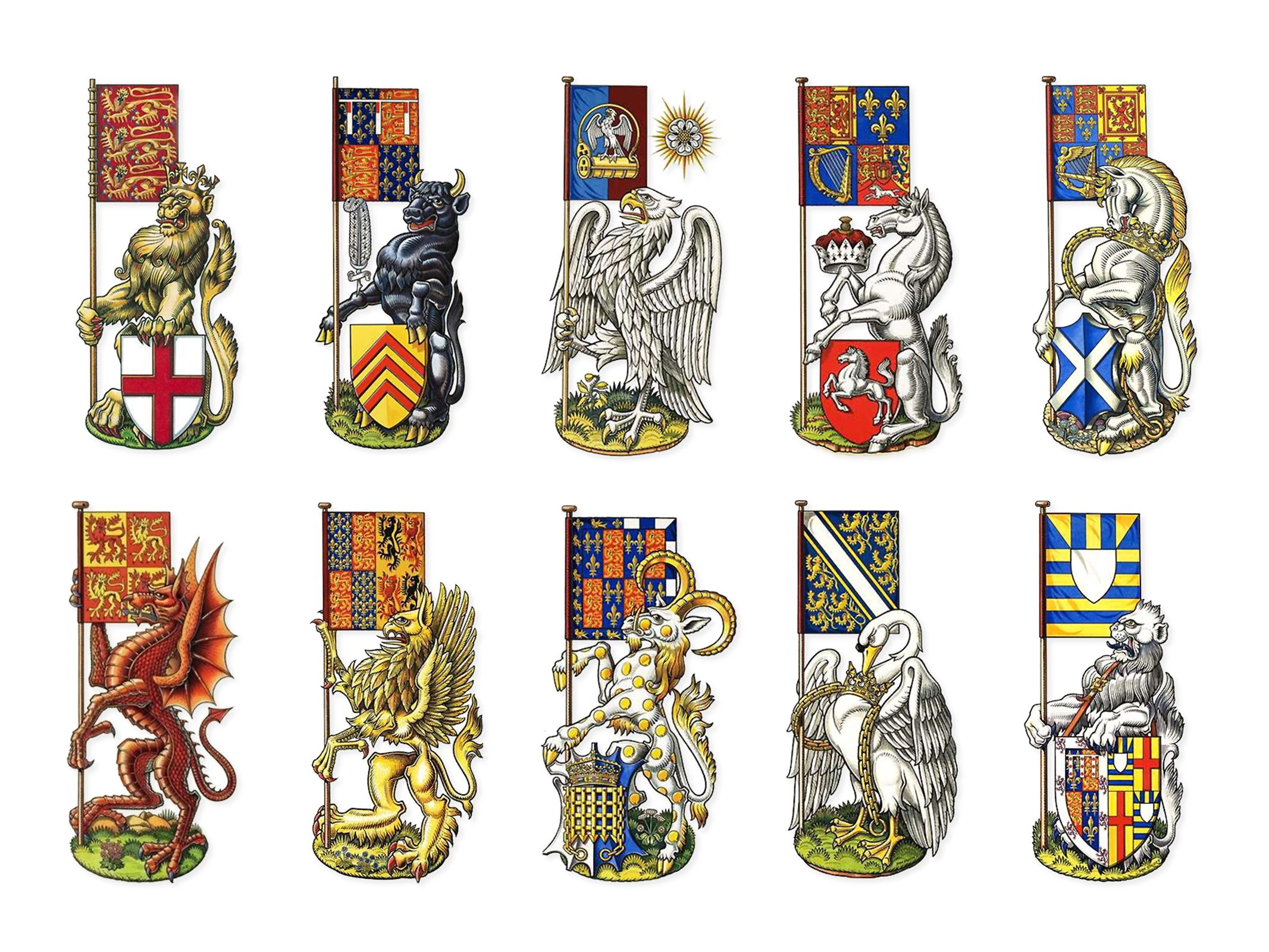 Various heraldic beasts of England, Wales and Great Brittain by ...